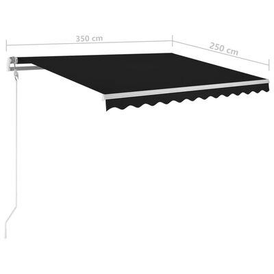 vidaXL Luifel handmatig uittrekbaar met palen 3,5x2,5 m antracietkleur