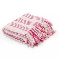 vidaXL Plaid strepen 220x250 cm katoen roze en wit