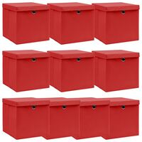 vidaXL Opbergboxen met deksels 10 st 32x32x32 cm stof rood