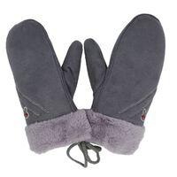 Warme winterhandschoenen in suède imitatie voor kinderen Grijs