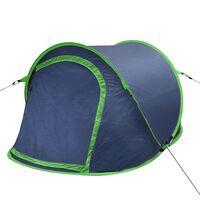 vidaXL Tent pop-up 2-persoons marineblauw/groen