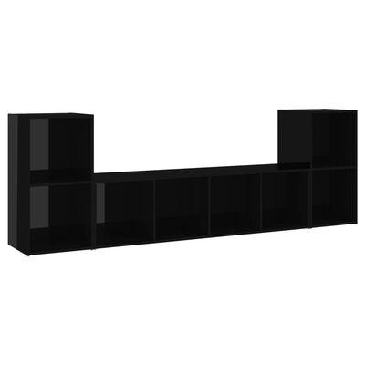 vidaXL 3-delige Tv-meubelset spaanplaat hoogglans zwart