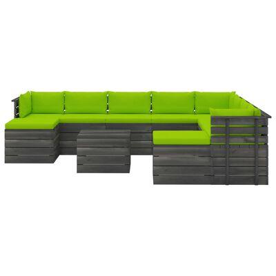 vidaXL 11-delige Loungeset pallet met kussens massief grenenhout