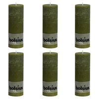 Bolsius Rustiekkaarsen 6 st 190x68 mm olijfgroen