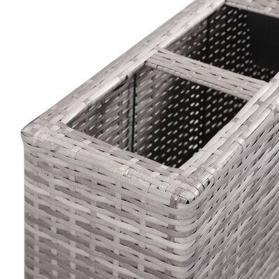 vidaXL Plantenbak verhoogd met 4 potten 80x22x79 cm poly rattan grijs