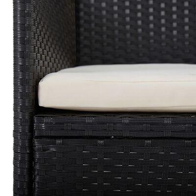 vidaXL 5-delige Tuinset poly rattan en acaciahout zwart