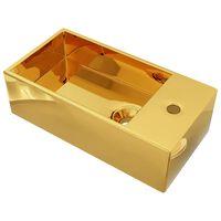 vidaXL Wastafel met overloop 49x25x15 cm keramiek goudkleurig