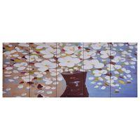 vidaXL Wandprintset bloemen in vaas 200x80 cm canvas meerkleurig