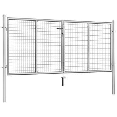 vidaXL Poort 306x150 cm gegalvaniseerd staal zilverkleurig
