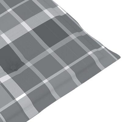 vidaXL Tuinstoelen 2 st met grijs geruite kussens massief teakhout