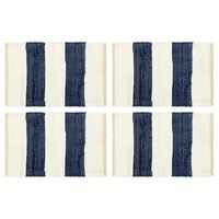 vidaXL Placemats 4 st chindi gestreept 30x45 cm blauw en wit