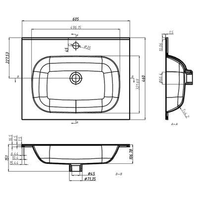 vidaXL Wastafel inbouw 605x460x105 mm SMC wit
