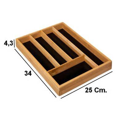 Decopatent Bamboe Bestekbak 5 Vaks - Besteklade Organizer Zwarte