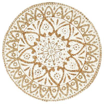 vidaXL Placemats 4 st rond 38 cm jute wit