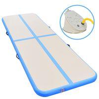 vidaXL Gymnastiekmat met pomp opblaasbaar 800x100x10 cm PVC blauw