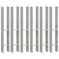 vidaXL Grondankers 6 st 8x6x60 cm gegalvaniseerd staal zilverkleurig