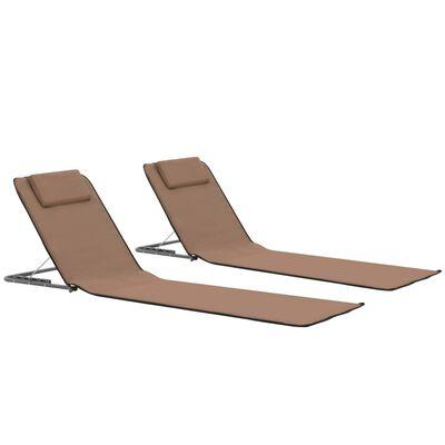 vidaXL Strandmatten inklapbaar 2 st staal en stof bruin, Brown