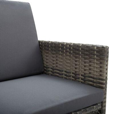 vidaXL 13-delige Tuinset met kussens poly rattan grijs