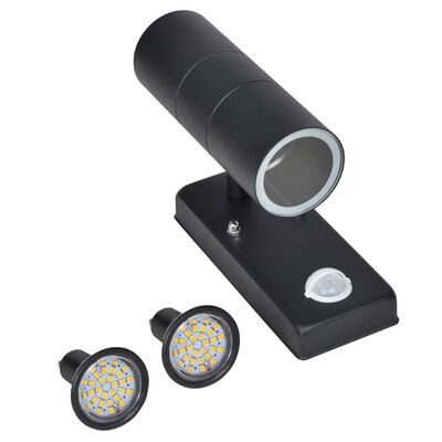 Cilindervormige RVS LED wandlamp met bewegingssensor zwart