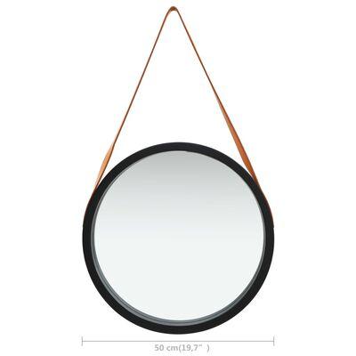 vidaXL Wandspiegel met band 50 cm zwart