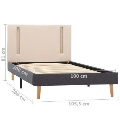 vidaXL Bedframe met LED stof crème en donkergrijs 100x200 cm