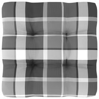 vidaXL Bankkussen pallet ruitpatroon 50x50x12 cm grijs