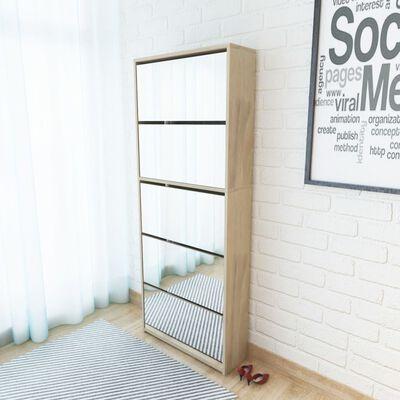 vidaXL Schoenenkast met 5 spiegels 63x17x169,5 cm eikenhout