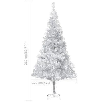 vidaXL Kunstkerstboom met standaard 210 cm PET zilverkleurig
