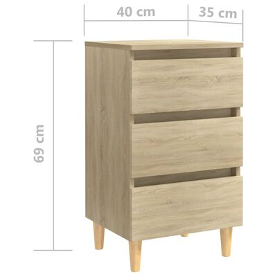 vidaXL Nachtkastjes 2 st met houten poten 40x35x69 cm sonoma eiken