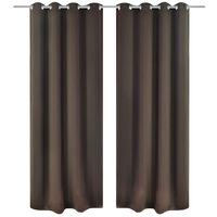 Blackout Gordijnen met metalen ringen 135 x 245 cm 2 stuks (bruin)