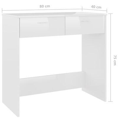 vidaXL Bureau 80x40x75 cm spaanplaat hoogglans wit