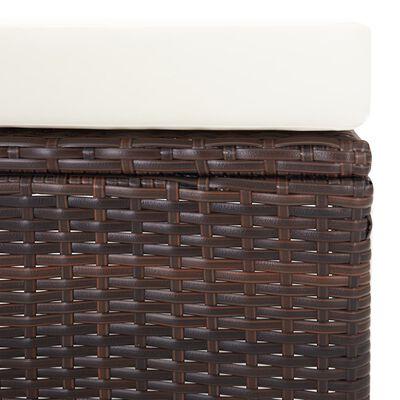vidaXL Tuinstoel verstelbaar met kussens poly rattan bruin