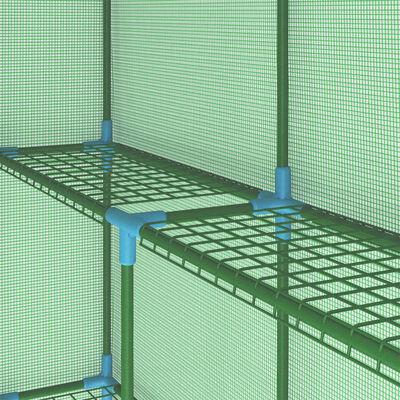 vidaXL Tuinkas met schappen 143x143x195 cm staal