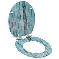 vidaXL Toiletbril met soft-close deksel oud hout MDF