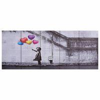vidaXL Wandprintset ballonnen en kind 150x60 cm canvas meerkleurig