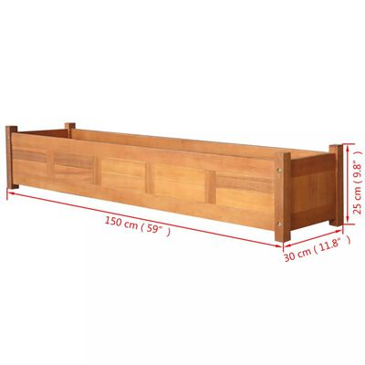 vidaXL Plantenbak verhoogd 150x30x25 cm acaciahout