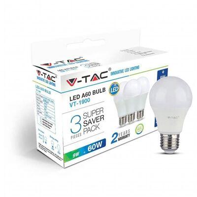 V-tac Vt-1900 3-pack Led Lampen Peertje - E27 - 9w - 806 Lm -2700k