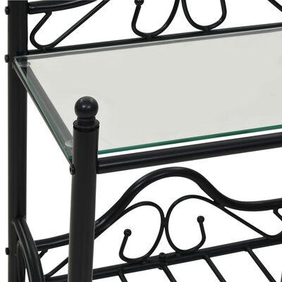 vidaXL Nachtkastjes 45x30,5x60 cm staal en gehard glass 2 st