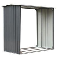vidaXL Haardhoutschuur 172x91x154 cm gegalvaniseerd staal grijs