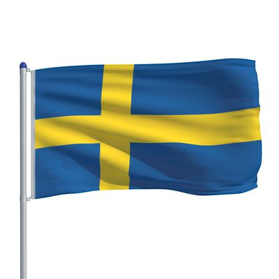 vidaXL Vlag met vlaggenmast Zweden 6 m aluminium
