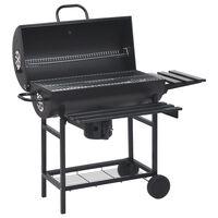 vidaXL Barbecuevat met wielen en schappen 115x85x95 cm staal zwart